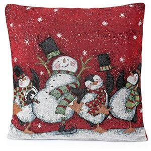 Other - Snowman Pillow Covers 18 x 18 Set of 2 Red